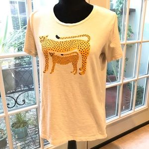 J Crew Factory cheetah & cub T- shirt size medium